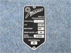 Plate, Name & serial number ( Manet 100 )