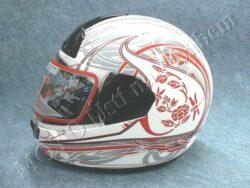 Full-face Helmet FF1 - red flower ( Motowell )
