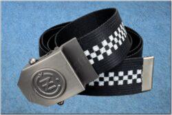 belt ČZ / textile black checkerboard - size 150cm(930816)