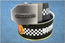 belt SIMSON / textile black checkerboard - size 150cm