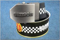 belt SIMSON / textile black checkerboard - size 150cm